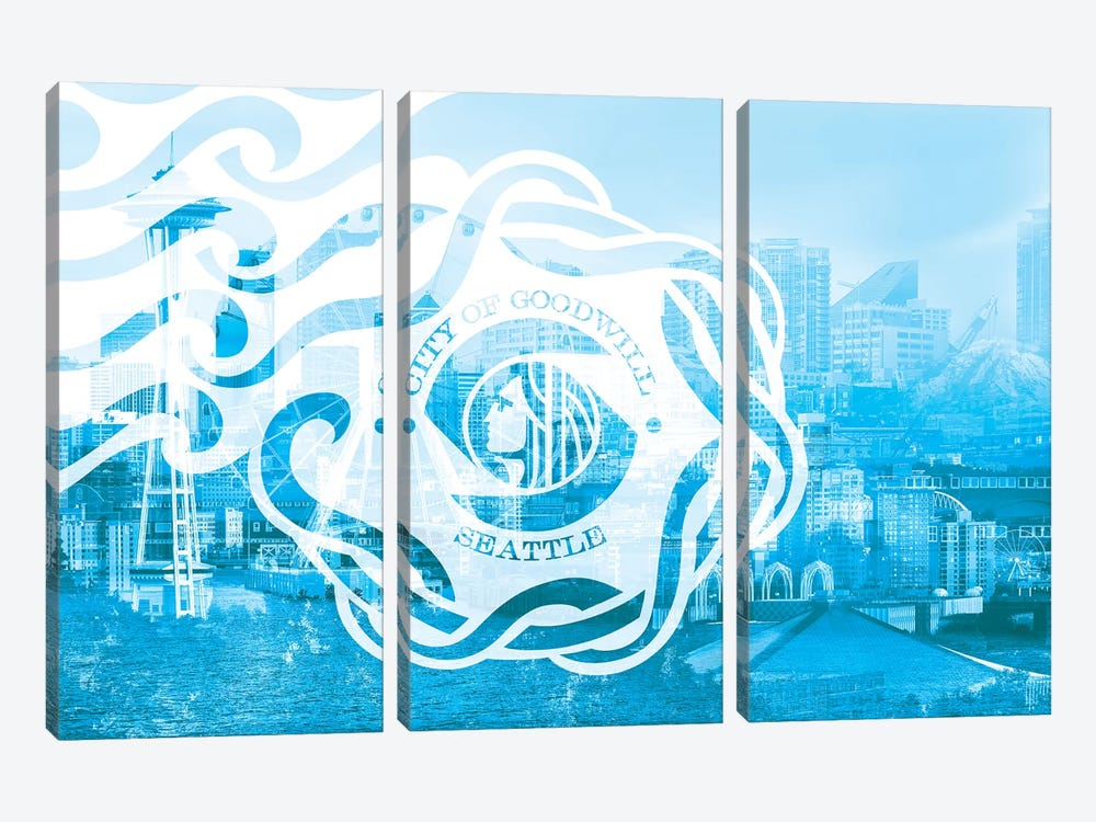 The Emerald City - Seattle - Seaport of the Northwest by 5by5collective 3-piece Canvas Artwork