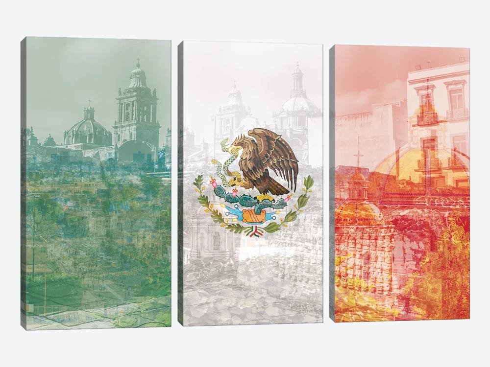 The City of Palaces - Mexico City - Springboard of the Aztec Empire by 5by5collective 3-piece Canvas Art Print