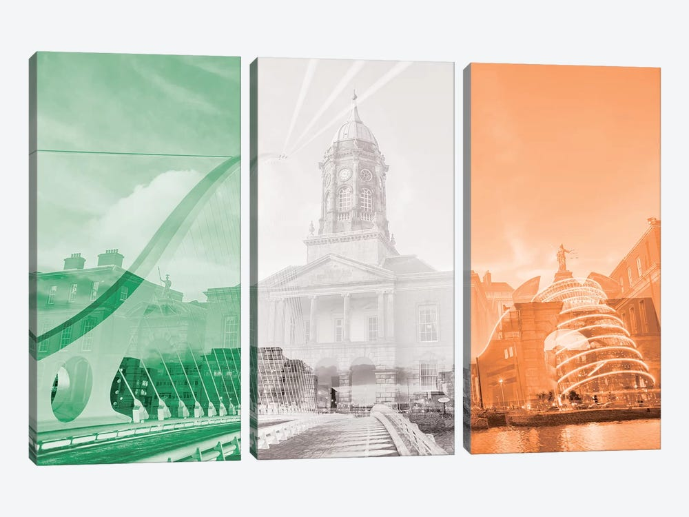 The Fair City - Dublin by 5by5collective 3-piece Canvas Art Print
