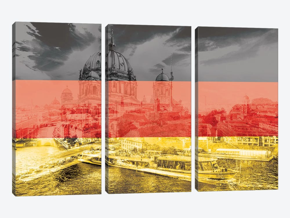The Grey City - Berlin by 5by5collective 3-piece Canvas Wall Art