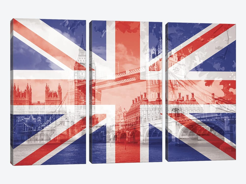 The Square Mile - London - The Big Smoke on the Thames by 5by5collective 3-piece Canvas Print