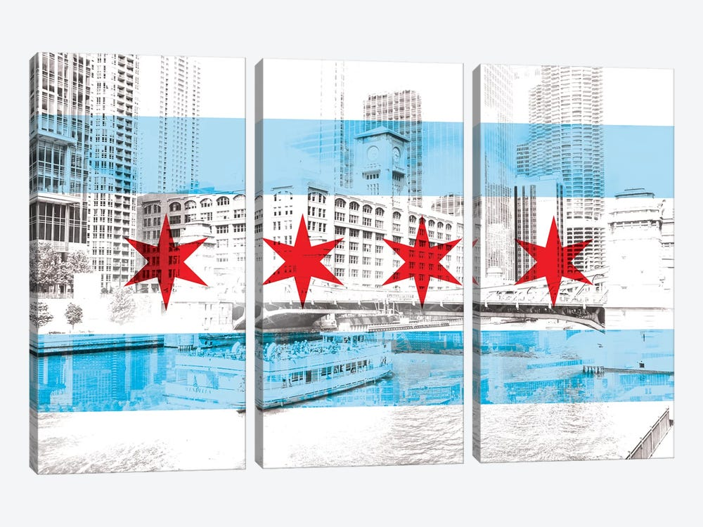 The Windy City - Chicago - The City of Big Shoiulders by 5by5collective 3-piece Canvas Art