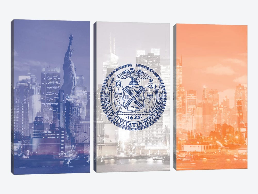 The Big Apple - New York City - An Architectural Dazzle by 5by5collective 3-piece Canvas Artwork