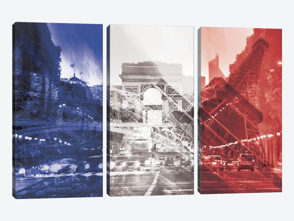 The City of Love - Paris - Where Romace Blossoms by 5by5collective 3-piece Canvas Artwork