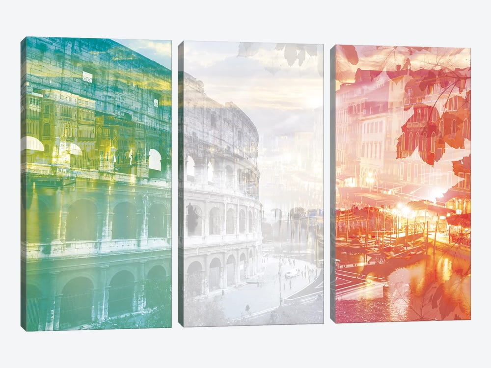 The Eternal City - Rome - Cradle of Ancient Architecture by 5by5collective 3-piece Canvas Art Print