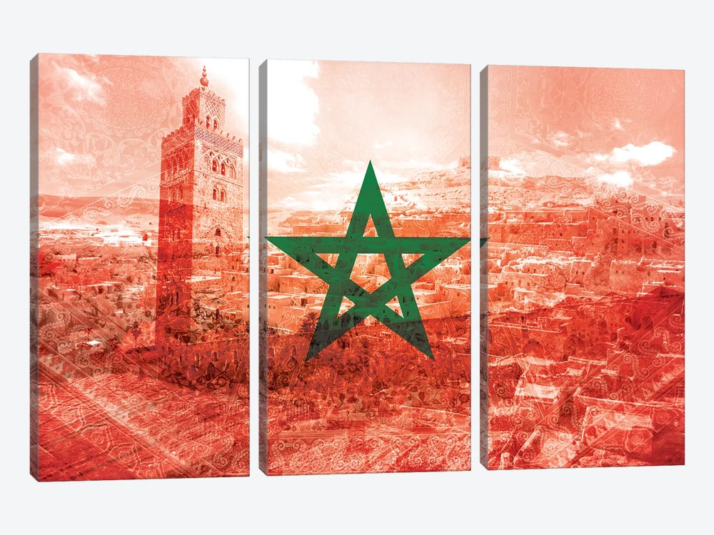 Red City - Marrakech - A Labyrinth of Imagination by 5by5collective 3-piece Art Print