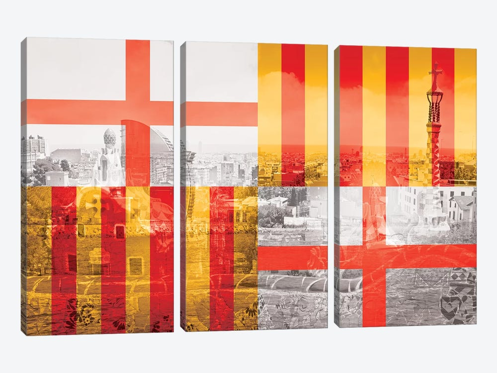 The City of Counts - Barcelona - A Medieval Beauty by 5by5collective 3-piece Canvas Artwork