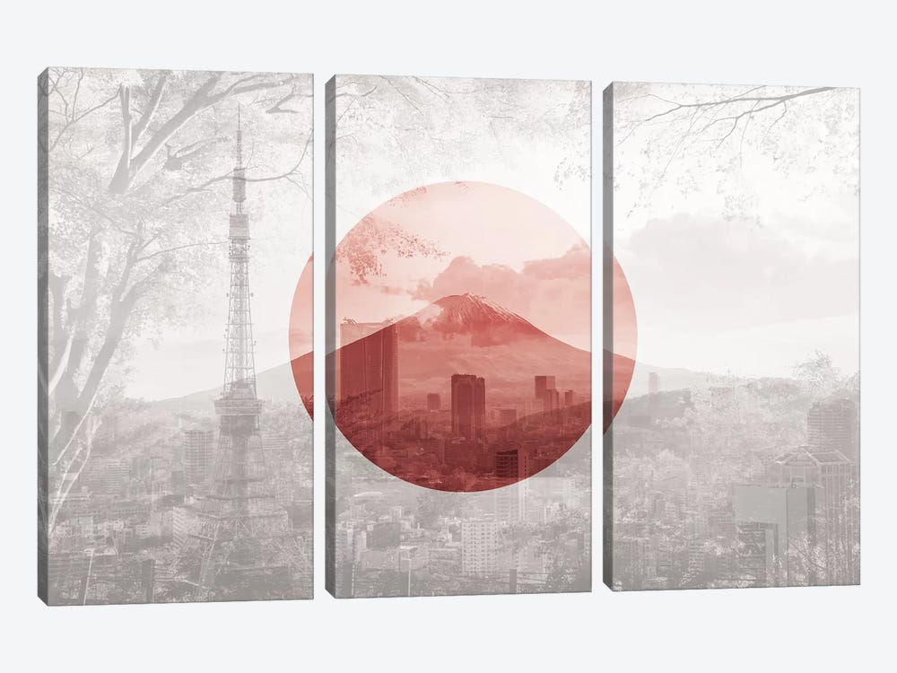Rising Sun of Yamato - Tokyo by 5by5collective 3-piece Canvas Art