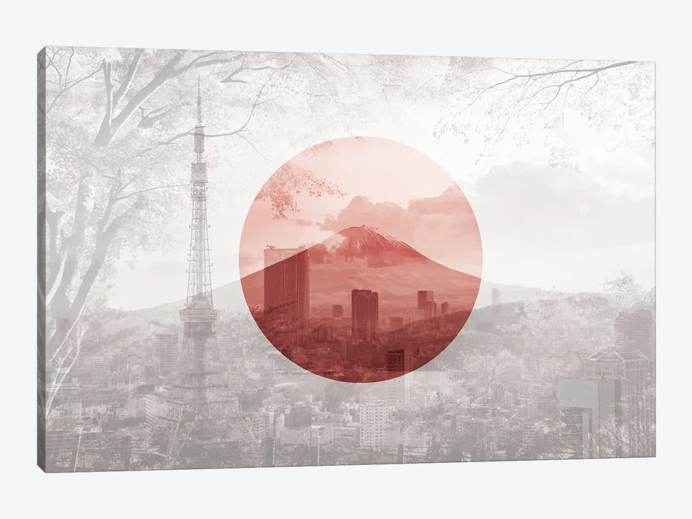 Rising Sun of Yamato - Tokyo by 5by5collective 1-piece Canvas Art