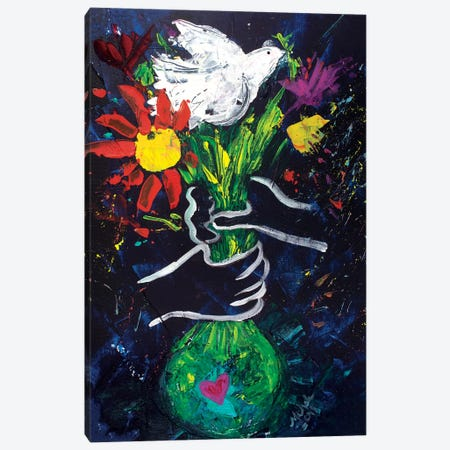 Peace A La Picasso Canvas Print #MFE13} by Michele Pulver Feldman Canvas Artwork
