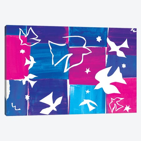 Doves A La Matisse Canvas Print #MFE34} by Michele Pulver Feldman Canvas Art Print