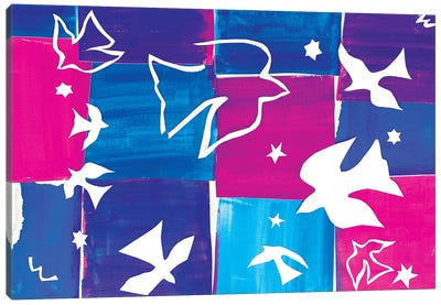 Doves A La Matisse Canvas Art Print
