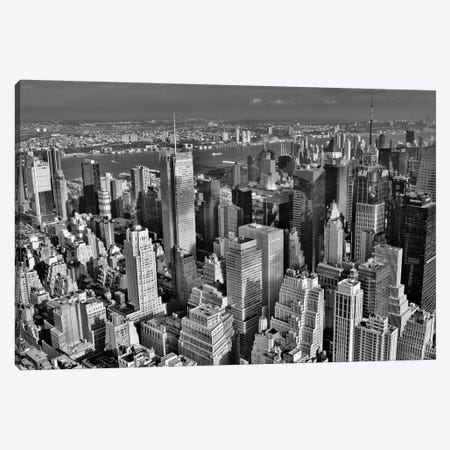 Times Square Skyline In Black and White Canvas Print #MFZ59} by Michael Fitzsimmons Canvas Print