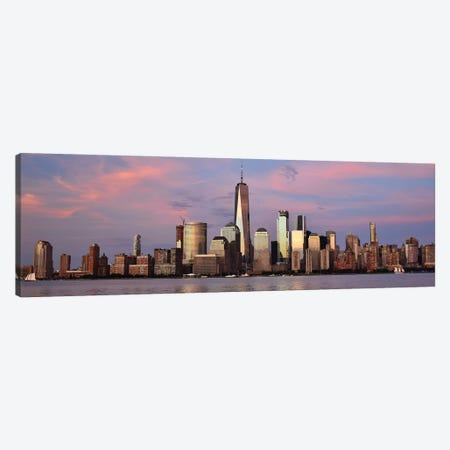 Manhattan Skyline At Sunset Canvas Print #MFZ68} by Michael Fitzsimmons Canvas Art