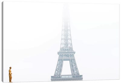 Eiffel In The Misty Morning Canvas Art Print