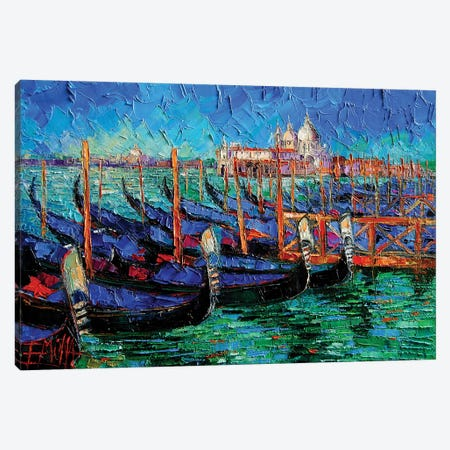 Venice Gondolas And Santa Maria Della Salute Canvas Print #MGE100} by Mona Edulesco Canvas Artwork