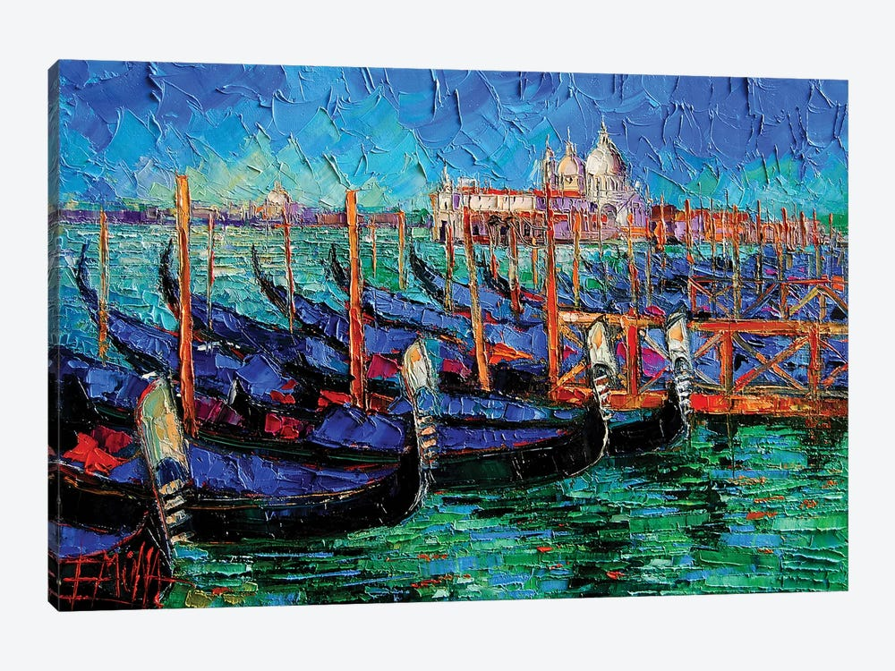 Venice Gondolas And Santa Maria Della Salute by Mona Edulesco 1-piece Canvas Art