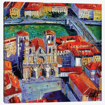 View Over Cathedral Saint-Jean, Lyon Canvas Print #MGE103} by Mona Edulesco Canvas Art