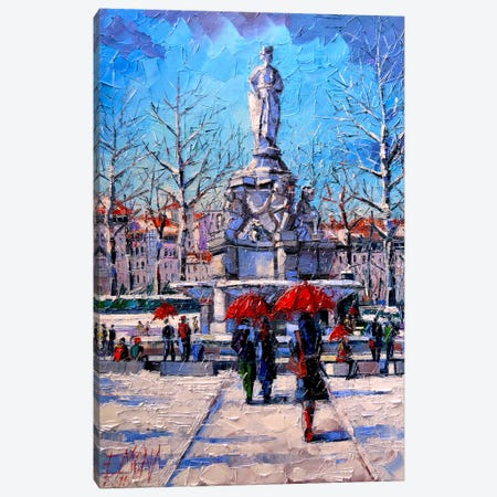 Winter City Scene - The Square Maréchal Lyautey In Lyon Canvas Print #MGE105} by Mona Edulesco Canvas Art Print
