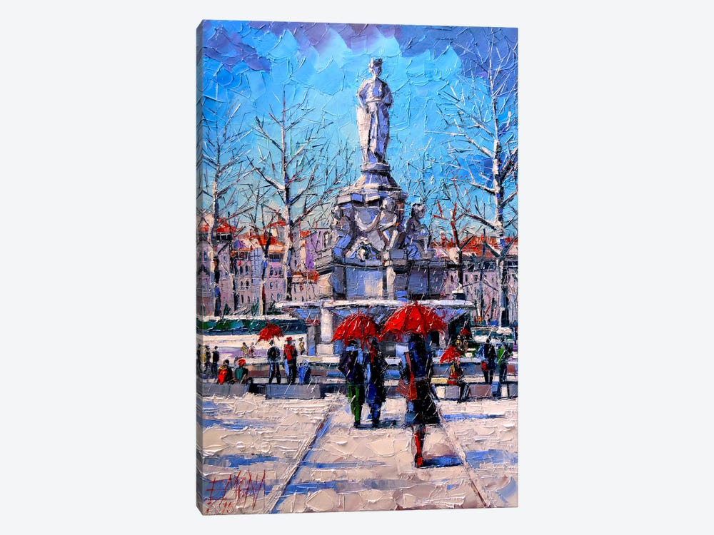 Winter City Scene - The Square Maréchal Lyautey In Lyon by Mona Edulesco 1-piece Art Print