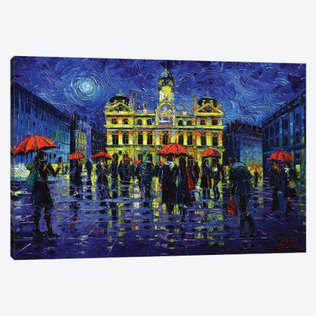 Nightfall Over Lyon Canvas Print #MGE110} by Mona Edulesco Art Print