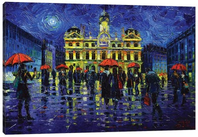 Nightfall Over Lyon Canvas Art Print