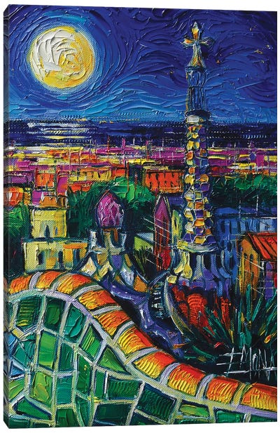 Barcelona Nightscape Canvas Art Print
