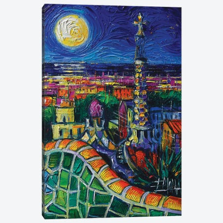 Barcelona Nightscape Canvas Print #MGE113} by Mona Edulesco Art Print