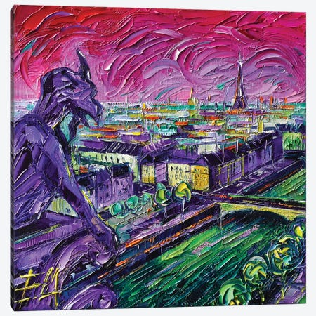 Paris View with Gargoyles I Canvas Print #MGE116} by Mona Edulesco Canvas Art