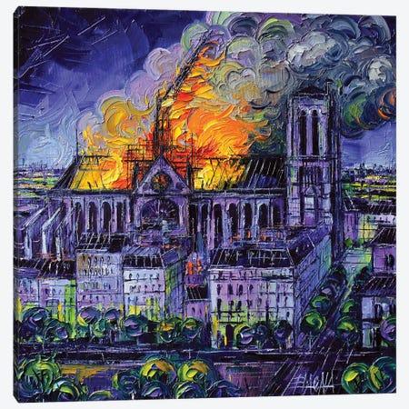 Notre Dame De Paris Fire 3-Piece Canvas #MGE118} by Mona Edulesco Canvas Art Print