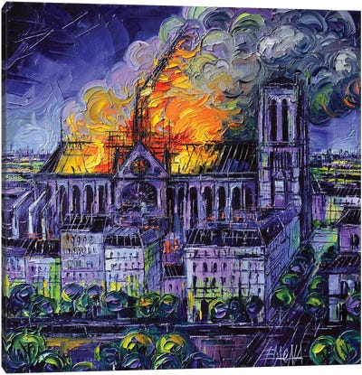 Notre Dame De Paris Fire Canvas Art Print