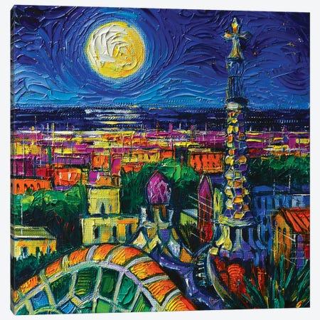 Barcelona Full Moon Canvas Print #MGE119} by Mona Edulesco Canvas Art Print