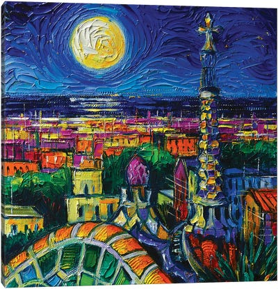 Barcelona Full Moon Canvas Art Print