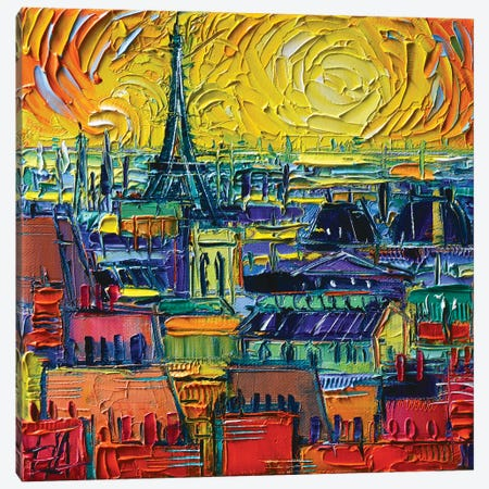 Paris Rooftops View From Pompidou 3-Piece Canvas #MGE122} by Mona Edulesco Canvas Art