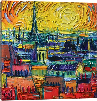 Paris Rooftops View From Pompidou Canvas Art Print