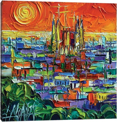 Barcelona View Stylized Cityscape Canvas Art Print