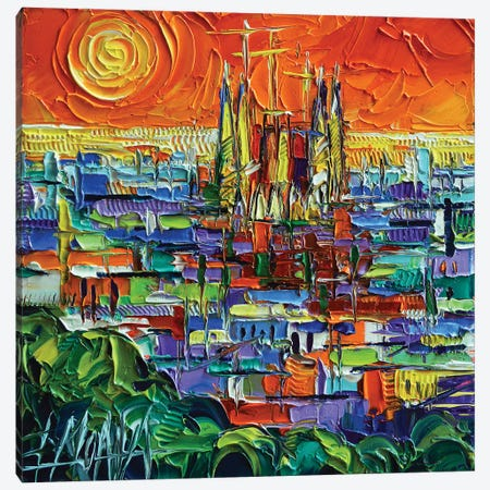 Barcelona View Stylized Cityscape Canvas Print #MGE123} by Mona Edulesco Canvas Wall Art