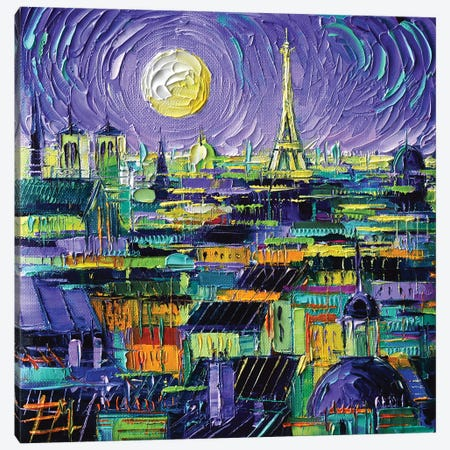 Paris Purple Night 3-Piece Canvas #MGE125} by Mona Edulesco Canvas Print