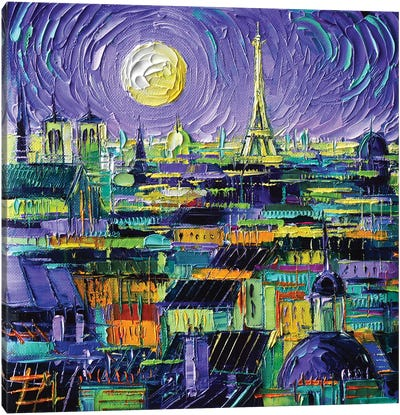 Paris Purple Night Canvas Art Print