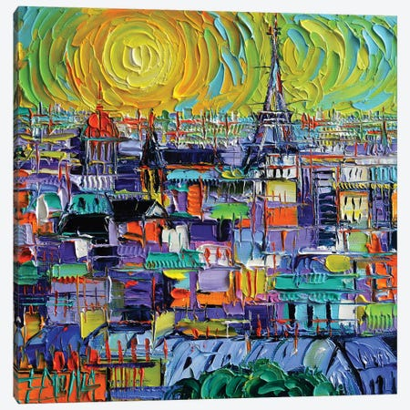 Paris View From Notre Dame Towers 3-Piece Canvas #MGE126} by Mona Edulesco Canvas Art Print