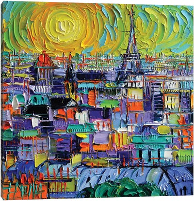 Paris View From Notre Dame Towers Canvas Art Print