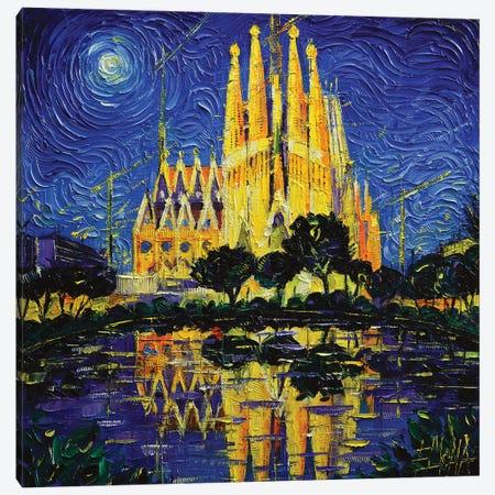 Sagrada Familia Barcelona Mirrored Canvas Print #MGE127} by Mona Edulesco Art Print