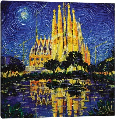 Sagrada Familia Barcelona Mirrored Canvas Art Print