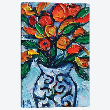 Abstract Orange Flowers In White Vase Canvas Print #MGE129} by Mona Edulesco Canvas Wall Art