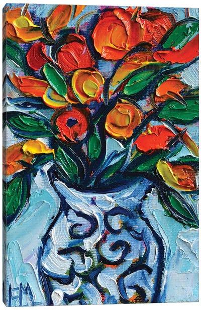 Abstract Orange Flowers In White Vase Canvas Art Print