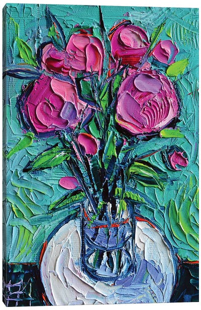 Abstract Peonies On White Table Canvas Art Print