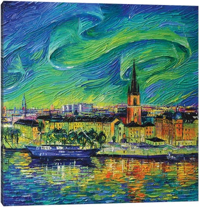 Aurora Borealis Over Stockholm Canvas Art Print