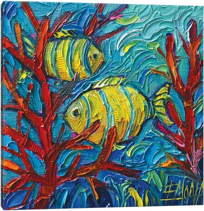 Tropical Yellow Fishes Underwater Canvas Art Print
