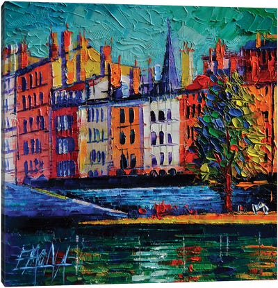 Colorful Waterfront In Lyon France Canvas Art Print