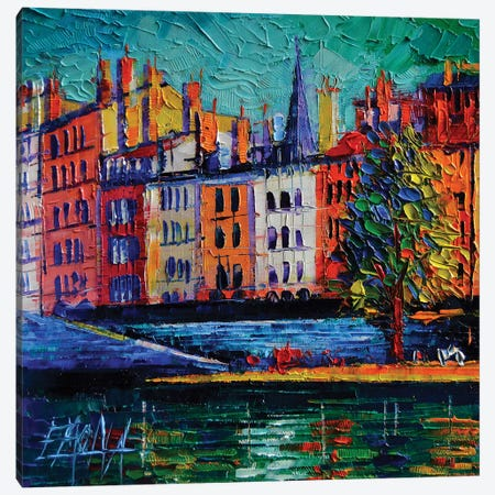 Colorful Waterfront In Lyon France Canvas Print #MGE16} by Mona Edulesco Canvas Artwork